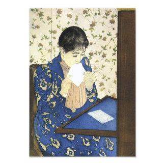 Letter by Mary Cassatt, Vintage Impressionism Art 5x7 Paper Invitation Card