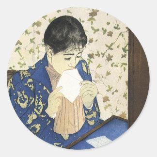 Letter by Mary Cassatt Vintage Impressionism Art Round Sticker