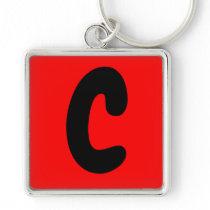 letter C abecedario keychain initial