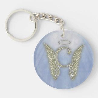 Letter C Angel Monogram Double-Sided Round Acrylic Keychain