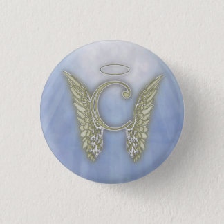 Letter C Angel Monogram Pinback Button