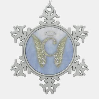 Letter C Angel Monogram Snowflake Pewter Christmas Ornament