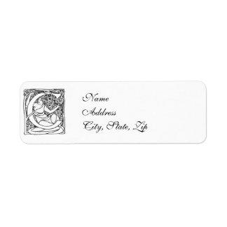 Letter C - Art Nouveau Lady Label