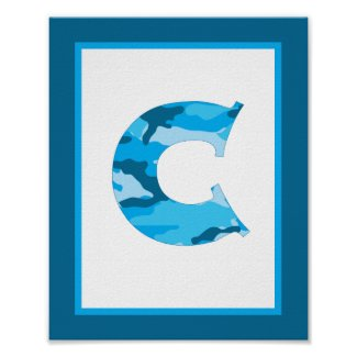 Letter C Camouflage Monogram Initial Wall Art Poster