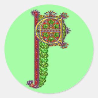 Letter C Cinderella Ornamental Print Classic Round Sticker