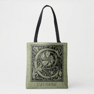 Letter C First Letter Monogram Personalized Tote Bag