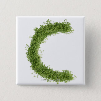 Letter 'C' in cress on white background, Button
