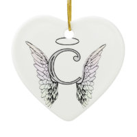 Letter C Initial Monogram with Angel Wings & Halo Ornament