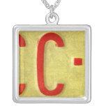 Letter C License Plate Vintage Necklace
