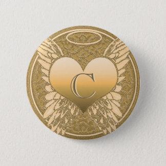 Letter C | Memorial | Angel Heart Button