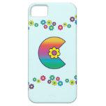 Letter C Monogram in Flores Rainbow iPhone 5 Covers