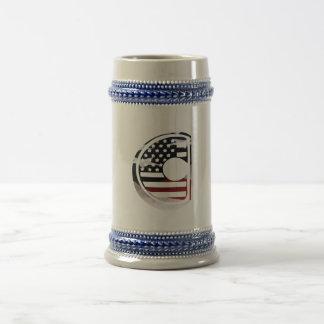 Letter C Monogram Initial USA Flag Pattern Beer Stein