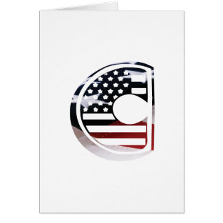 Letter C Monogram Initial USA Flag Pattern Card