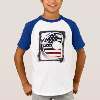Letter C Monogram Initial USA Flag Pattern T-Shirt