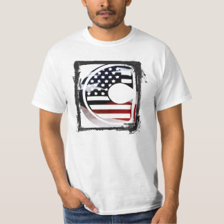 Letter C Monogram Initial USA Flag Pattern T-Shirt