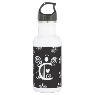 Letter C Monogram Initials and Tiny White Angels Stainless Steel Water Bottle