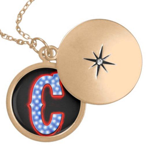 """Letter """"C"""" Neon Light Monogram Pendant"""