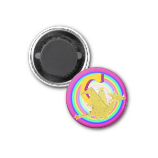 Letter C Orange Dragon 1 Inch Round Magnet