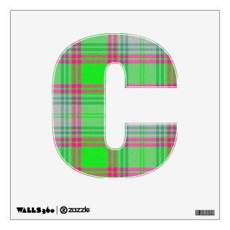 letter C punk rock tartan plaid vintage alphabet Wall Sticker