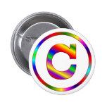 Letter C Rainbow Pinback Button
