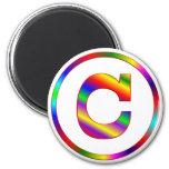 Letter C Rainbow Refrigerator Magnet