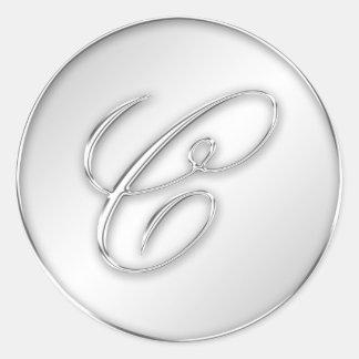 Letter C script initial faux silver monogram favor Classic Round Sticker