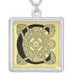 Letter C Vintage Celtic Knot Monogram Square Pendant Necklace