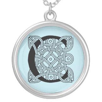 Letter C Vintage Celtic Knot Monogram Silver Plated Necklace