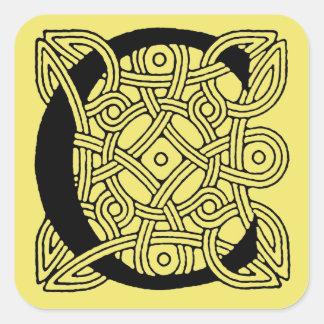 Letter C Vintage Celtic Knot Monogram Square Sticker