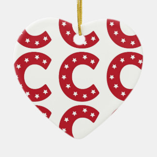 Letter C - White Stars on Dark Red Ceramic Ornament