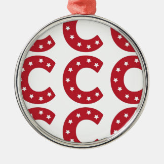 Letter C - White Stars on Dark Red Metal Ornament