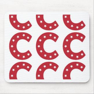 Letter C - White Stars on Dark Red Mouse Pad