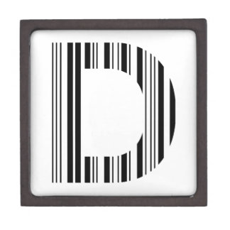 LETTER D BAR CODE First Initial Barcode Pattern Gift Box