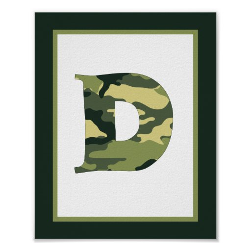Letter d camo green monogram initial wall art poster zazzle for Letter wall art
