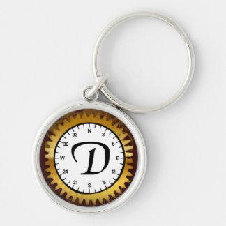 Letter D Clockwork Premium Keychain