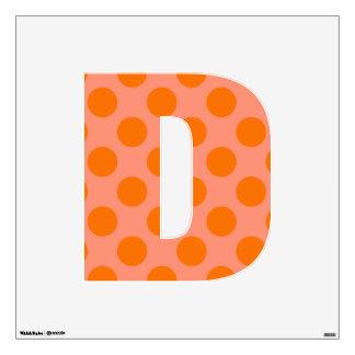 letter D cute kawaii polka dots shabby chic medium Wall Decal