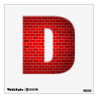 """Letter """" D """" Decal - Red Christmas Bricks Wall Graphic"""
