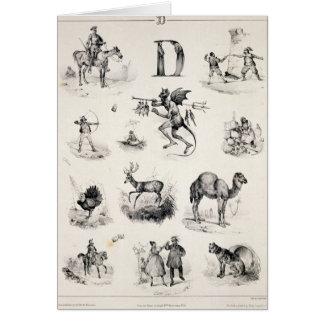 Letter D from an alphabet primer, 1832 Card