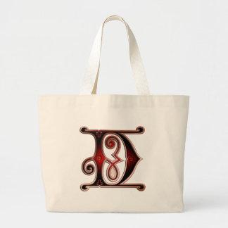 Letter D Gingerbread style II Jumbo Tote Bag