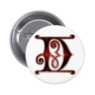 Letter D Gingerbread style II print Pinback Button