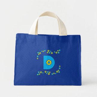 Letter D in Flores Blue Monogram Tote Mini Tote Bag