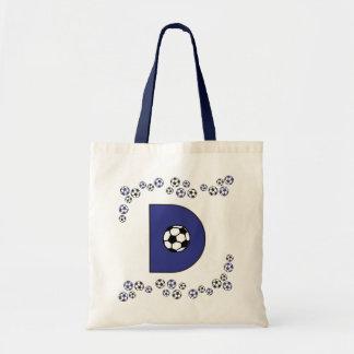Letter D in Soccer Blue Monogram Tote Budget Tote Bag