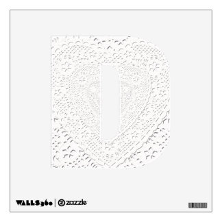 Letter D Initial  - Laced Heart Doily Wall Sticker
