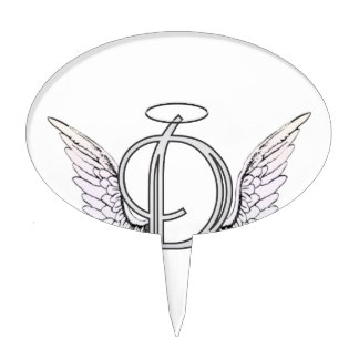 Letter D Initial Monogram with Angel Wings & Halo Cake Topper