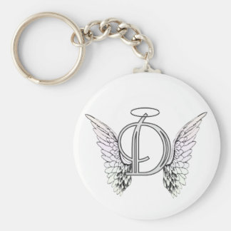 Letter D Initial Monogram with Angel Wings & Halo Keychain