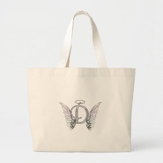 Letter D Initial Monogram with Angel Wings & Halo Large Tote Bag