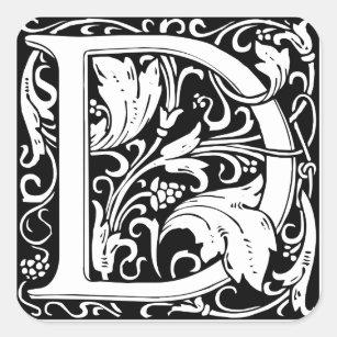 letter d medieval monogram vintage initial square sticker