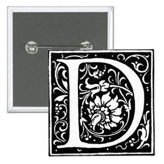 Letter D Monogram 2 Inch Square Button