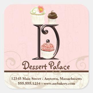 Letter D Monogram Cupcake Logo Business Stickers