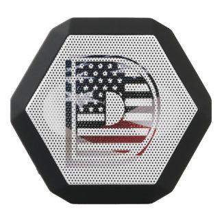 Letter D Monogram Initial USA Flag Pattern Black Bluetooth Speaker